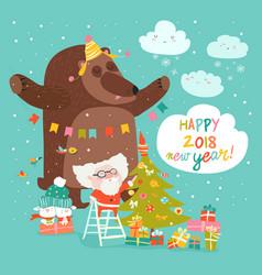 christmas card with santa claus and bear vector image vector image