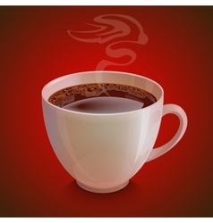 Isolated realistic white coffe cup with vapor on vector image