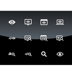 Monitoring icons on black background vector image vector image