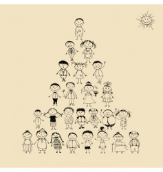 pyramid with happy big family vector image