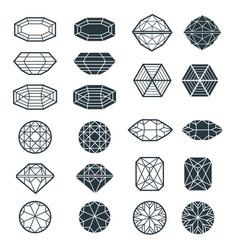 set of black diamond design elements vector image