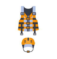 Blue and orange life vest and helmet part of boat vector