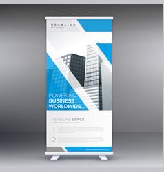 blue roll up business banner flyer design vector image