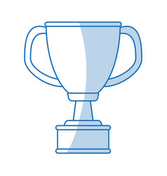 Blue shading silhouette cartoon cup trophy with vector
