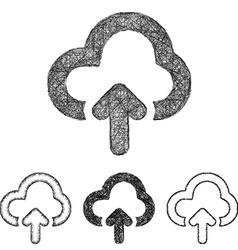 Cloud upload icon set - sketch line art vector