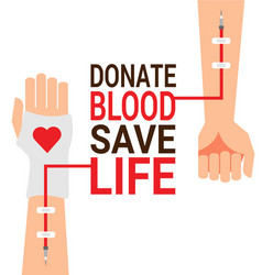 hand of blood donor with patient hand for world vector image vector image