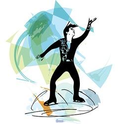 man ice skater skating at colorful sports arena vector image vector image