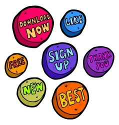 Set of hand drawn buttons vector image vector image
