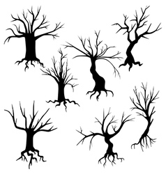 Set of of spooky trees silhouettes vector image vector image