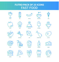 25 green and blue futuro fast food icon pack vector image