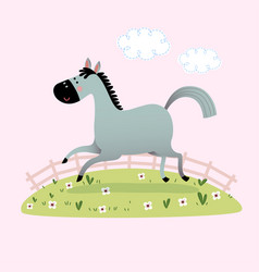 a cute gray horse running in grass vector image