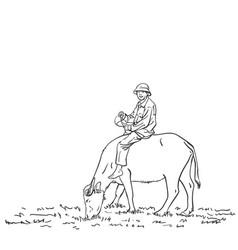 Asian farmer man is riding buffalo hand drawn vector