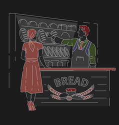 bakery shop worker showing customer variety of vector image