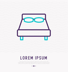 bed thin line icon modern vector image
