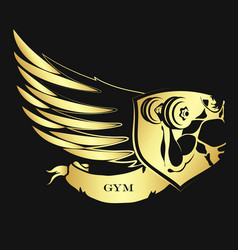 Bodybuilding symbol golden vector
