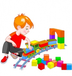 boy with train set vector image