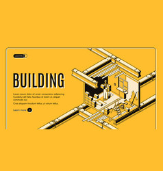 Building service isometric web banner vector
