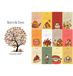 cakes and sweets calendar 2019 design vector image