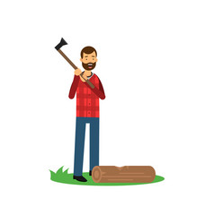 Cartoon cheerful bearded lumberjack man standing vector