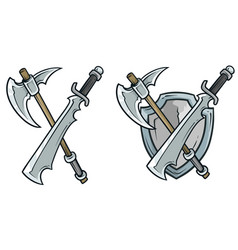 cartoon coat arms with axe and shield vector image