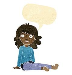 Cartoon happy woman with speech bubble vector