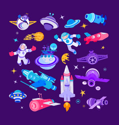 Cartoon space and spaceship vector