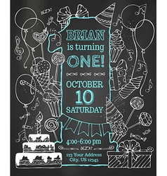 Chalk first Birthday invitation on blackboard vector image