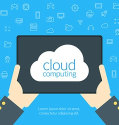 Cloud computing concept in flat design style Hand vector