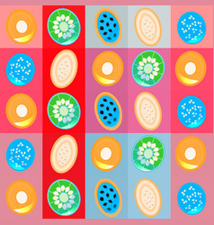 Coloful background with flat fruit slices vector