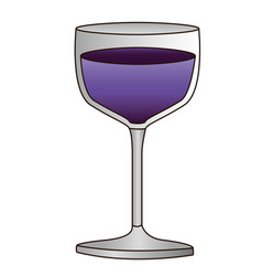 colorful silhouette of glass cup with purple wine vector image