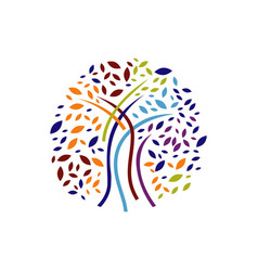 colorful silhouette tree logo design graphics vector image