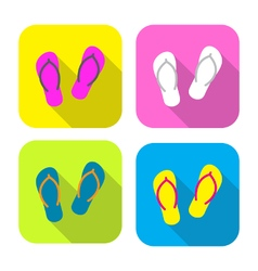 Colorful slippers flat icon with long shadow vector