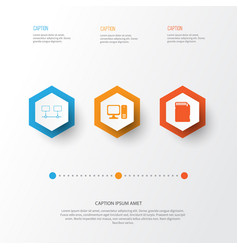 Computer icons set collection of memory card vector