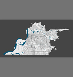 detailed map memphis city cityscape royalty vector image