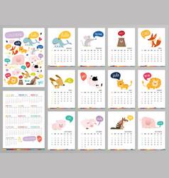 Doodle pastel woodland calendar set 2022 with vector
