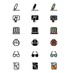 Education Outline Filled and Colored Icons 9 vector