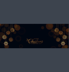 elegant black christmas banner with golden vector image