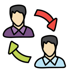 Employee turnover icon in doodle design vector