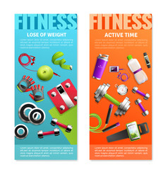 Fitness gym vertical banners set vector