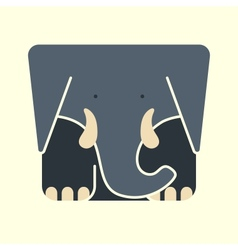 Flat square icon of a cute elephant vector image