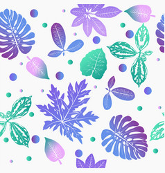 Floral background with gradient tropical plants vector