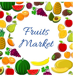 Fruits icons in round shape for market banner vector