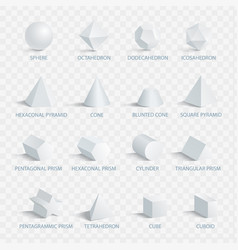 geometric 3d shapes with names vector image