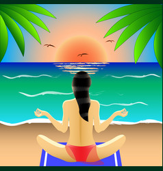 Girl in swimsuit in lotus position rear view yoga vector