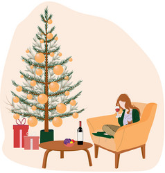 Girl on christmas eve sitting on chair vector
