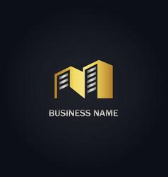 gold building company logo vector image