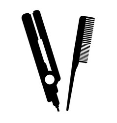 Hair straightener salom with comb vector