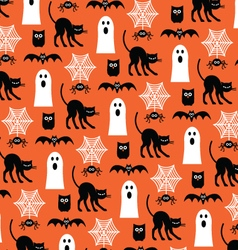 Halloween ghosts and black cats vector