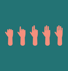 hand count one to five fingers arm showing sign vector image