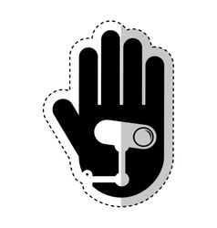 Hand human with cctv camera silhouette icon vector